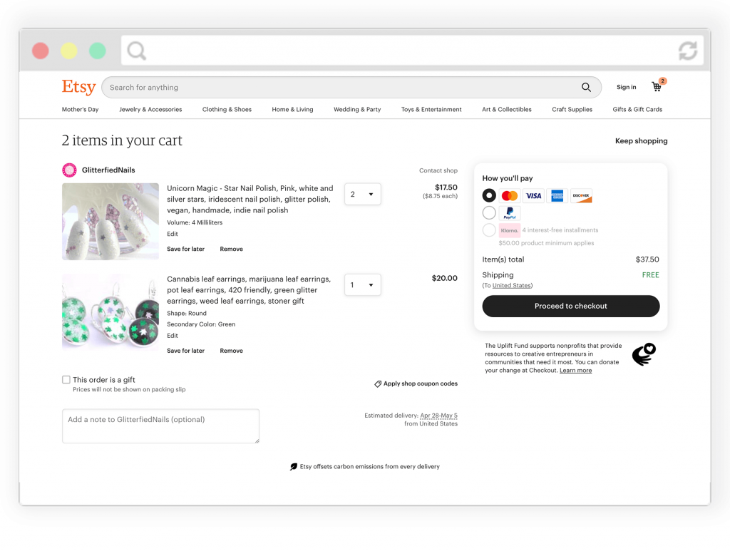 Checkout on Etsy after your visitor has completed their shopping on your website